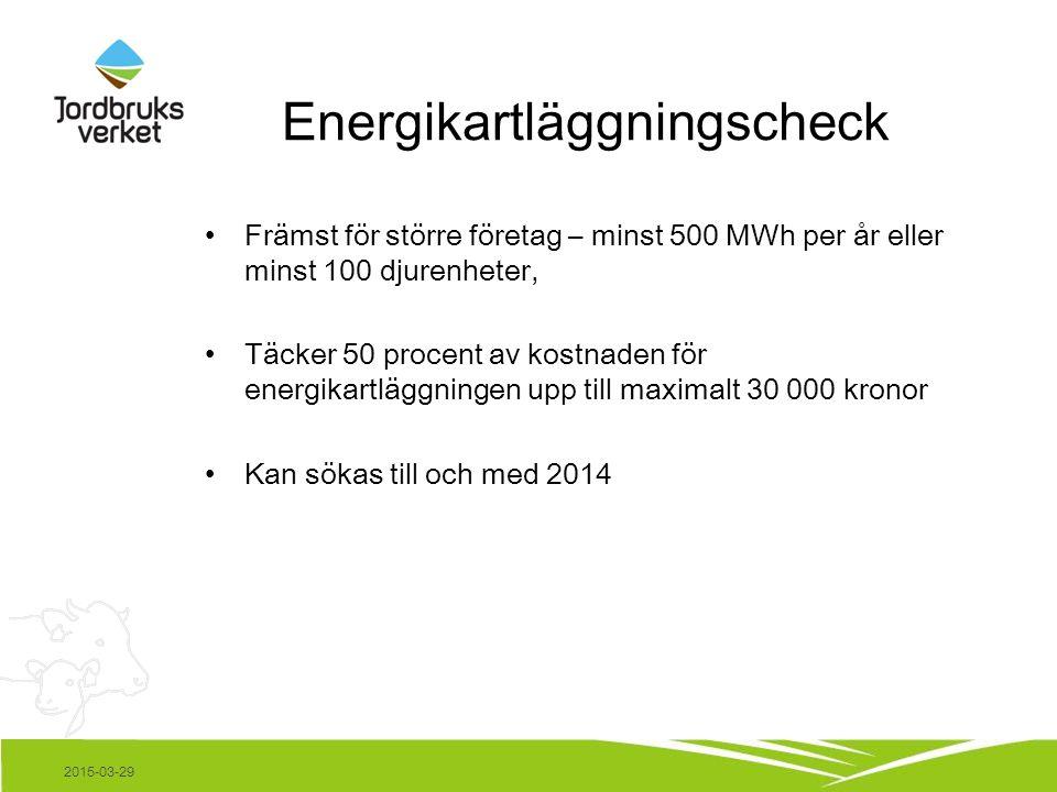 Energikartläggningscheck Främst för större företag – minst 500 MWh per år eller minst 100 djurenheter, Täcker 50 procent av kostnaden för energikartläggningen upp till maximalt 30 000 kronor Kan sökas till och med 2014 2015-03-29