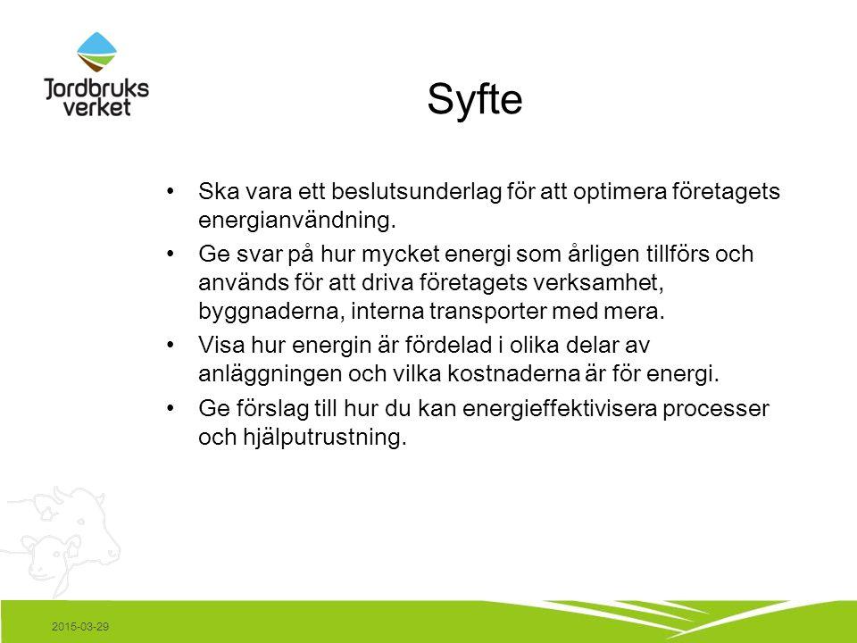 Syfte Ska vara ett beslutsunderlag för att optimera företagets energianvändning.