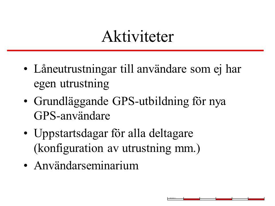 Aktiviteter Låneutrustningar till användare som ej har egen utrustning Grundläggande GPS-utbildning för nya GPS-användare Uppstartsdagar för alla deltagare (konfiguration av utrustning mm.) Användarseminarium