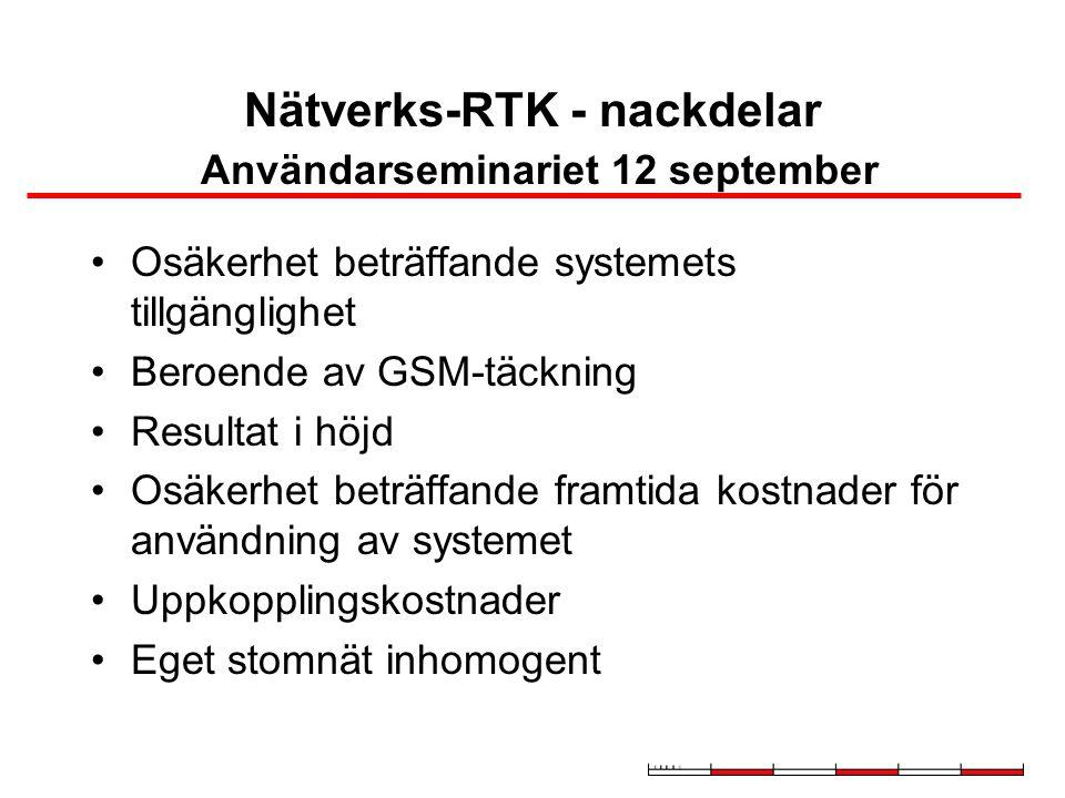 Nätverks-RTK - nackdelar Användarseminariet 12 september Osäkerhet beträffande systemets tillgänglighet Beroende av GSM-täckning Resultat i höjd Osäkerhet beträffande framtida kostnader för användning av systemet Uppkopplingskostnader Eget stomnät inhomogent