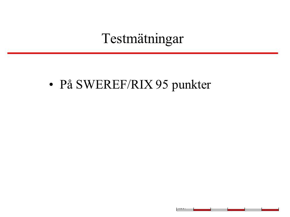 Testmätningar På SWEREF/RIX 95 punkter