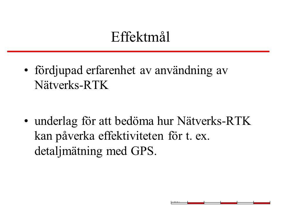 Effektmål fördjupad erfarenhet av användning av Nätverks-RTK underlag för att bedöma hur Nätverks-RTK kan påverka effektiviteten för t.