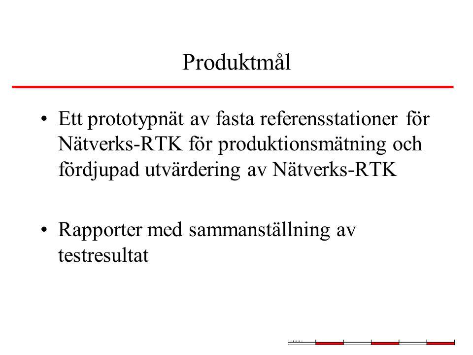 Produktmål Ett prototypnät av fasta referensstationer för Nätverks-RTK för produktionsmätning och fördjupad utvärdering av Nätverks-RTK Rapporter med sammanställning av testresultat