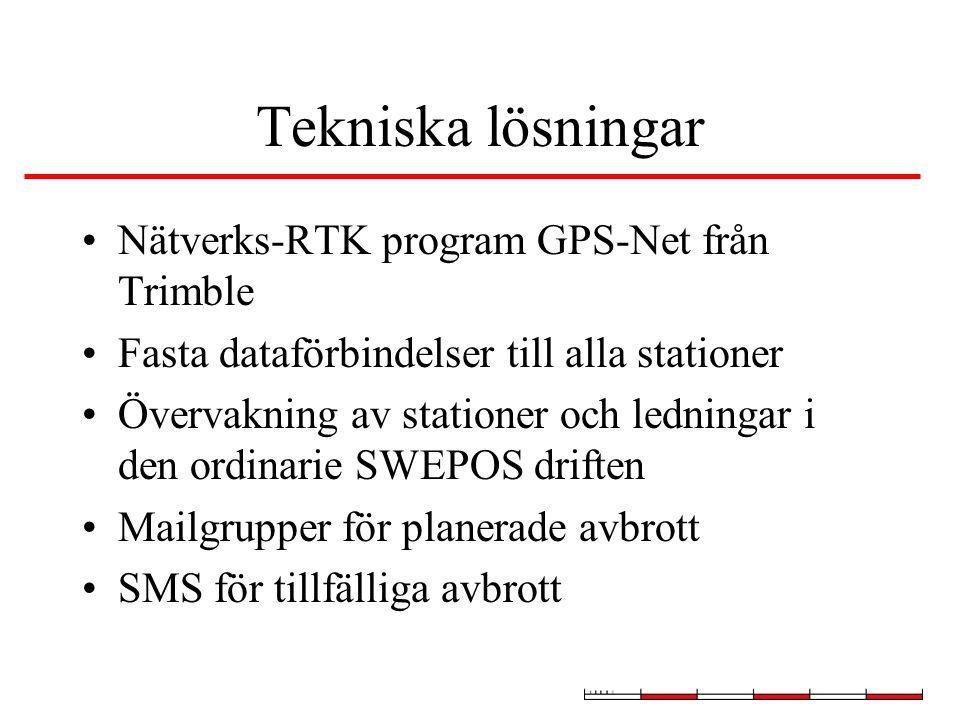 Tekniska lösningar Nätverks-RTK program GPS-Net från Trimble Fasta dataförbindelser till alla stationer Övervakning av stationer och ledningar i den ordinarie SWEPOS driften Mailgrupper för planerade avbrott SMS för tillfälliga avbrott