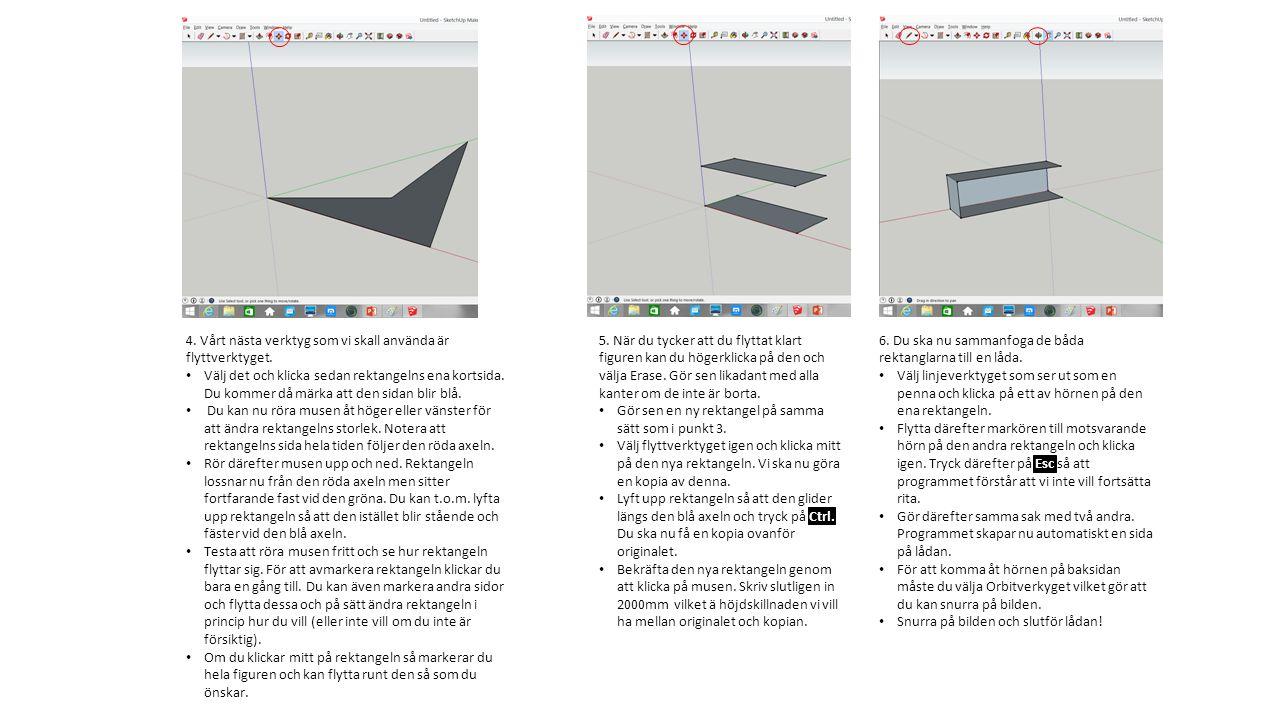 4. Vårt nästa verktyg som vi skall använda är flyttverktyget. Välj det och klicka sedan rektangelns ena kortsida. Du kommer då märka att den sidan bli