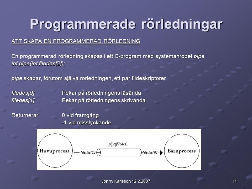 11Jonny Karlsson 12.2.2007 Programmerade rörledningar ATT SKAPA EN PROGRAMMERAD RÖRLEDNING En programmerad rörledning skapas i ett C-program med systemanropet pipe int pipe(int filedes[2]); pipe skapar, förutom själva rörledningen, ett par fildeskriptorer filedes[0]Pekar på rörledningens läsända filedes[1]Pekar på rörledningens skrivända Returnerar:0 vid framgång -1 vid misslyckande