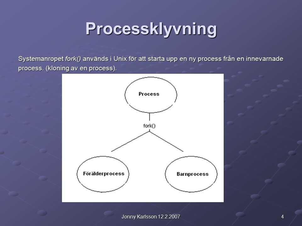 4Jonny Karlsson 12.2.2007 Processklyvning Systemanropet fork() används i Unix för att starta upp en ny process från en innevarnade process. (kloning a