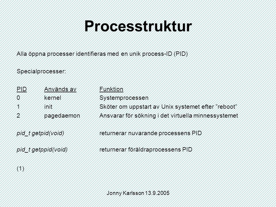 Jonny Karlsson 13.9.2005 Processtruktur Alla öppna processer identifieras med en unik process-ID (PID) Specialprocesser: PIDAnvänds avFunktion 0kernel Systemprocessen 1initSköter om uppstart av Unix systemet efter reboot 2pagedaemonAnsvarar för sökning i det virtuella minnessystemet pid_t getpid(void)returnerar nuvarande processens PID pid_t getppid(void)returnerar föräldraprocessens PID (1)
