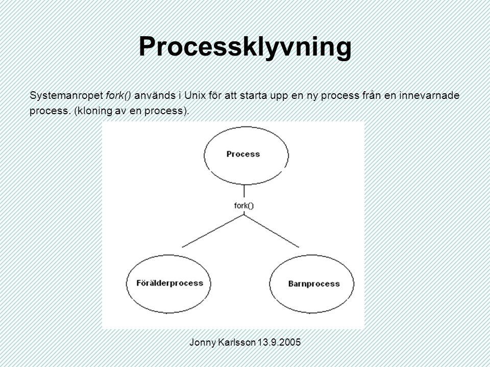 Jonny Karlsson 13.9.2005 Processklyvning Systemanropet fork() används i Unix för att starta upp en ny process från en innevarnade process.