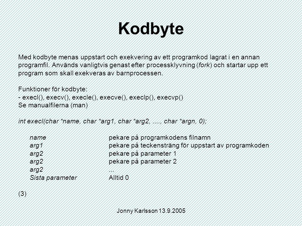 Jonny Karlsson 13.9.2005 Kodbyte Med kodbyte menas uppstart och exekvering av ett programkod lagrat i en annan programfil. Används vanligtvis genast e