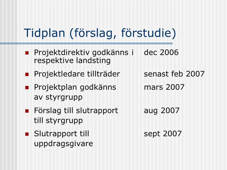 Tidplan (förslag, förstudie) Projektdirektiv godkänns i dec 2006 respektive landsting Projektledare tillträdersenast feb 2007 Projektplan godkänns mar