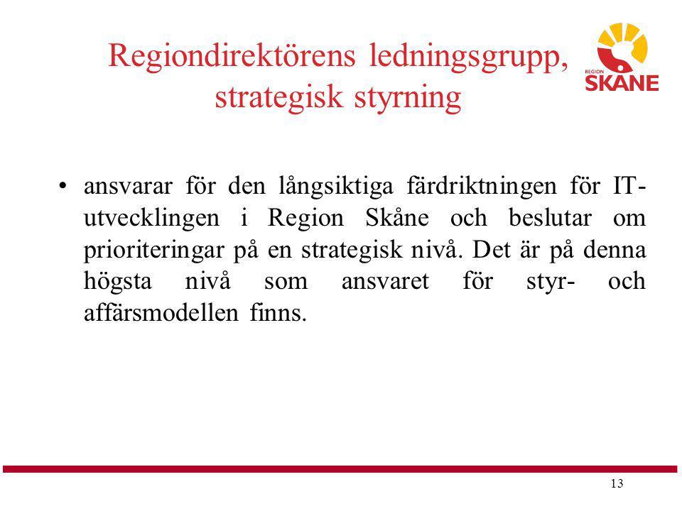 13 Regiondirektörens ledningsgrupp, strategisk styrning ansvarar för den långsiktiga färdriktningen för IT- utvecklingen i Region Skåne och beslutar o