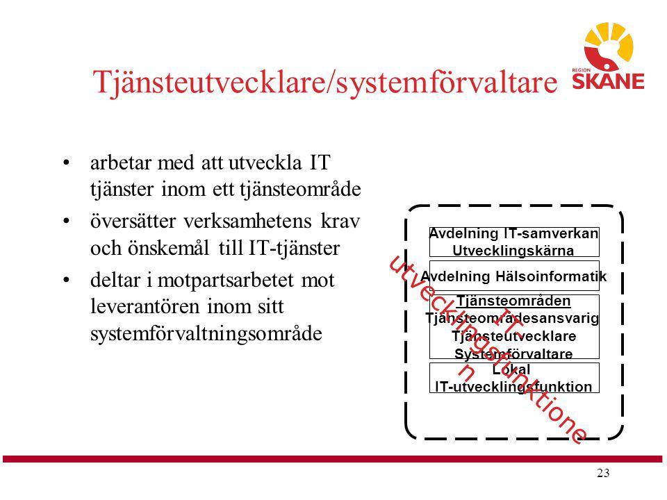 23 Tjänsteutvecklare/systemförvaltare arbetar med att utveckla IT tjänster inom ett tjänsteområde översätter verksamhetens krav och önskemål till IT-t