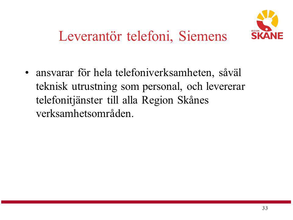 33 Leverantör telefoni, Siemens ansvarar för hela telefoniverksamheten, såväl teknisk utrustning som personal, och levererar telefonitjänster till all