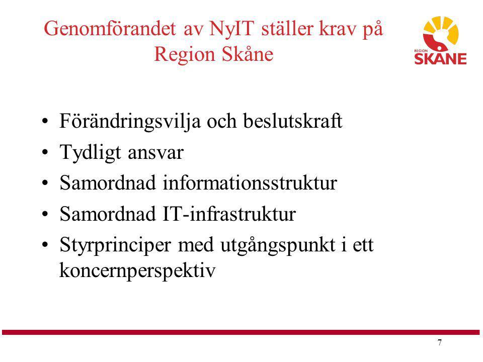 7 Genomförandet av NyIT ställer krav på Region Skåne Förändringsvilja och beslutskraft Tydligt ansvar Samordnad informationsstruktur Samordnad IT-infr