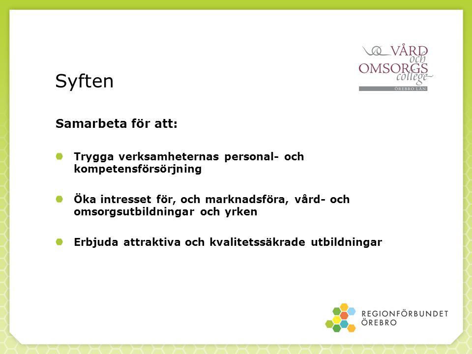 Syften Samarbeta för att: Trygga verksamheternas personal- och kompetensförsörjning Öka intresset för, och marknadsföra, vård- och omsorgsutbildningar