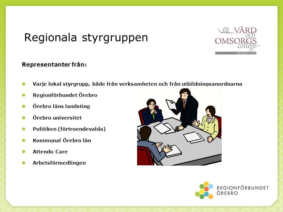 Regionala styrgruppen Representanter från: Varje lokal styrgrupp, både från verksamheten och från utbildningsanordnarna Regionförbundet Örebro Örebro