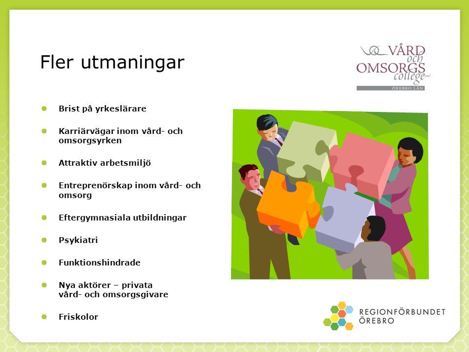 Fler utmaningar Brist på yrkeslärare Karriärvägar inom vård- och omsorgsyrken Attraktiv arbetsmiljö Entreprenörskap inom vård- och omsorg Eftergymnasi