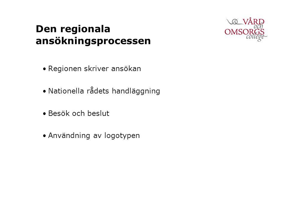 Den regionala ansökningsprocessen Regionen skriver ansökan Nationella rådets handläggning Besök och beslut Användning av logotypen