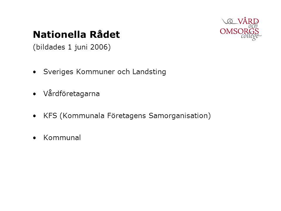 Nationella Rådet (bildades 1 juni 2006) Sveriges Kommuner och Landsting Vårdföretagarna KFS (Kommunala Företagens Samorganisation) Kommunal