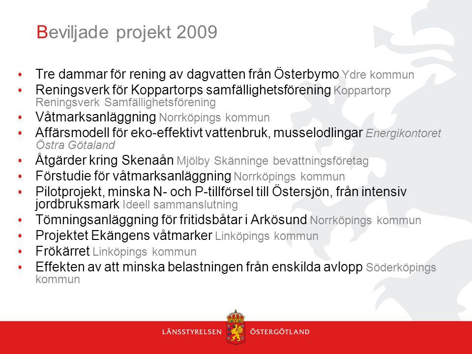 Beviljade projekt 2009 Tre dammar för rening av dagvatten från Österbymo Ydre kommun Reningsverk för Koppartorps samfällighetsförening Koppartorp Reningsverk Samfällighetsförening Våtmarksanläggning Norrköpings kommun Affärsmodell för eko-effektivt vattenbruk, musselodlingar Energikontoret Östra Götaland Åtgärder kring Skenaån Mjölby Skänninge bevattningsföretag Förstudie för våtmarksanläggning Norrköpings kommun Pilotprojekt, minska N- och P-tillförsel till Östersjön, från intensiv jordbruksmark Ideell sammanslutning Tömningsanläggning för fritidsbåtar i Arkösund Norrköpings kommun Projektet Ekängens våtmarker Linköpings kommun Frökärret Linköpings kommun Effekten av att minska belastningen från enskilda avlopp Söderköpings kommun