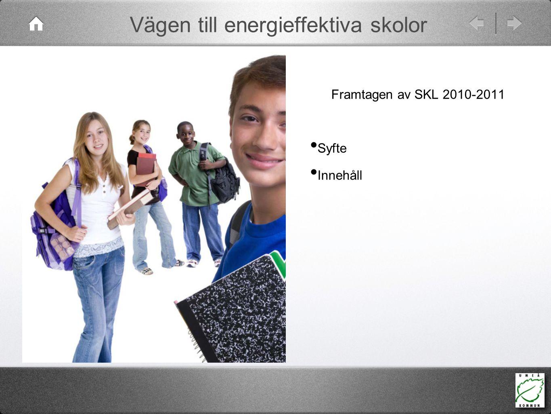 Vägen till energieffektiva skolor Framtagen av SKL 2010-2011 Syfte Innehåll