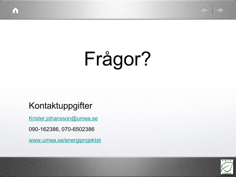 Frågor? Kontaktuppgifter Krister.johansson@umea.se 090-162386, 070-6502386 www.umea.se/energiprojektet