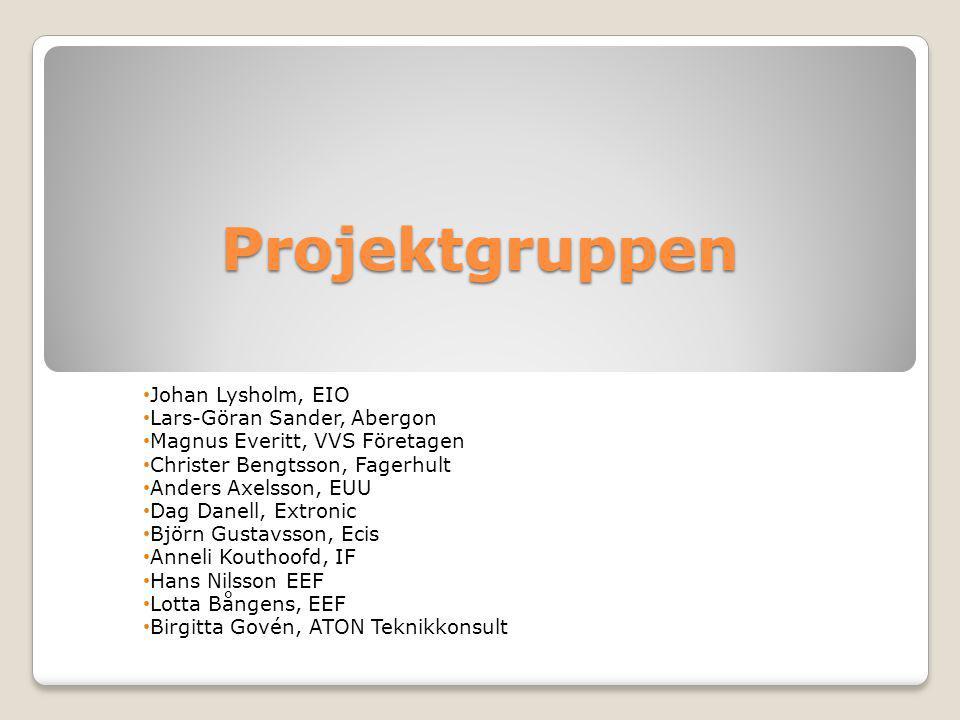 Projektgruppen Johan Lysholm, EIO Lars-Göran Sander, Abergon Magnus Everitt, VVS Företagen Christer Bengtsson, Fagerhult Anders Axelsson, EUU Dag Dane