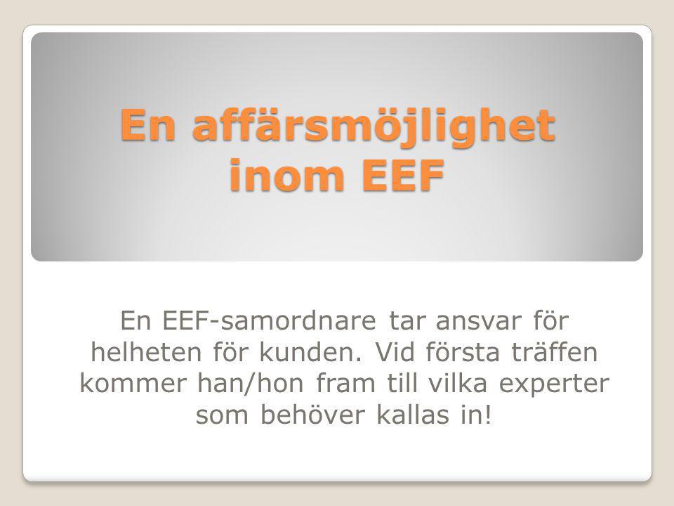 En affärsmöjlighet inom EEF En EEF-samordnare tar ansvar för helheten för kunden. Vid första träffen kommer han/hon fram till vilka experter som behöv