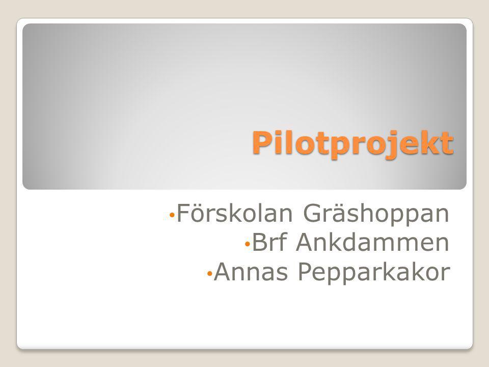 Pilotprojekt Förskolan Gräshoppan Brf Ankdammen Annas Pepparkakor