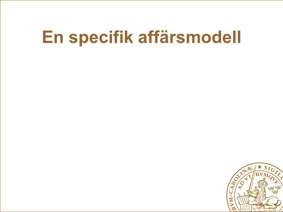 En specifik affärsmodell