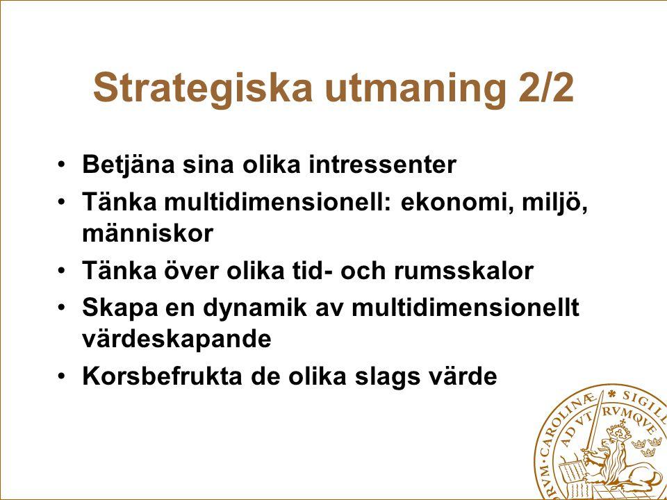 Strategiska utmaning 2/2 Betjäna sina olika intressenter Tänka multidimensionell: ekonomi, miljö, människor Tänka över olika tid- och rumsskalor Skapa