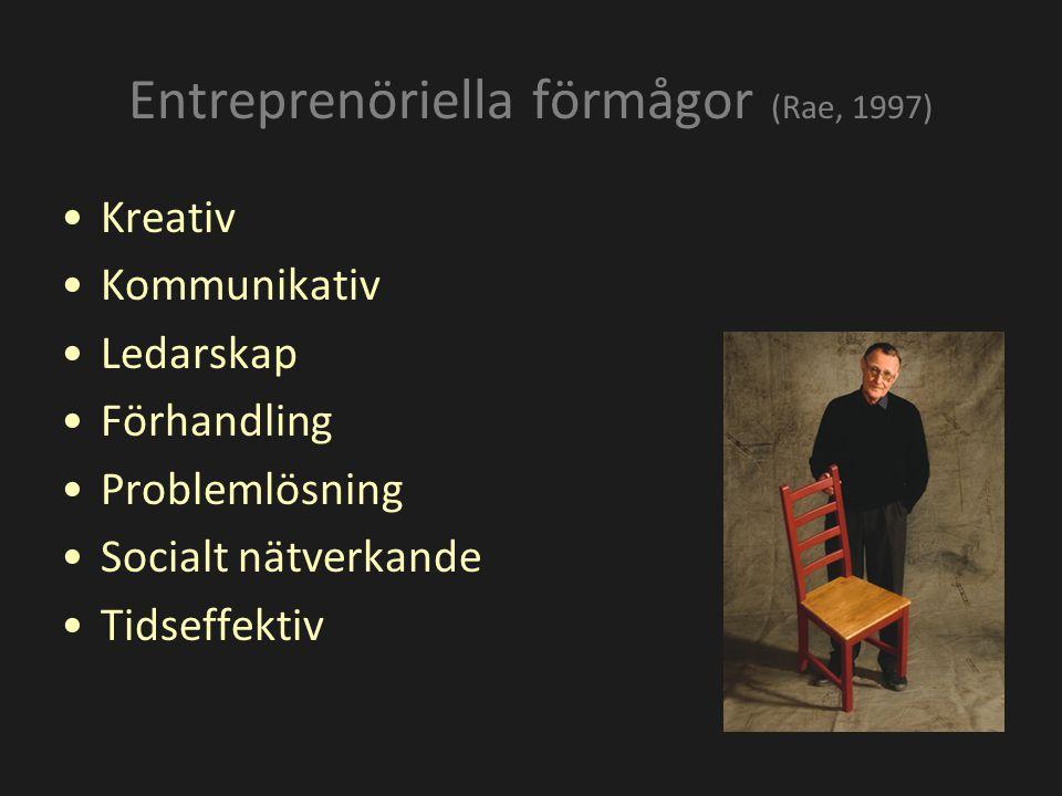 Kreativ Kommunikativ Ledarskap Förhandling Problemlösning Socialt nätverkande Tidseffektiv Entreprenöriella förmågor (Rae, 1997)