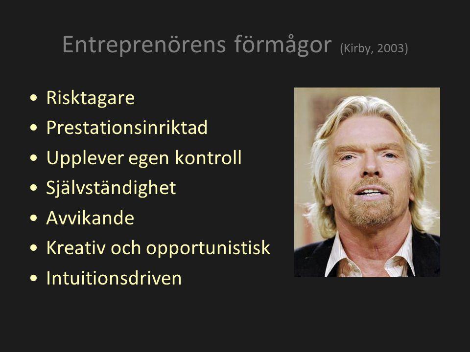 Risktagare Prestationsinriktad Upplever egen kontroll Självständighet Avvikande Kreativ och opportunistisk Intuitionsdriven Entreprenörens förmågor (K
