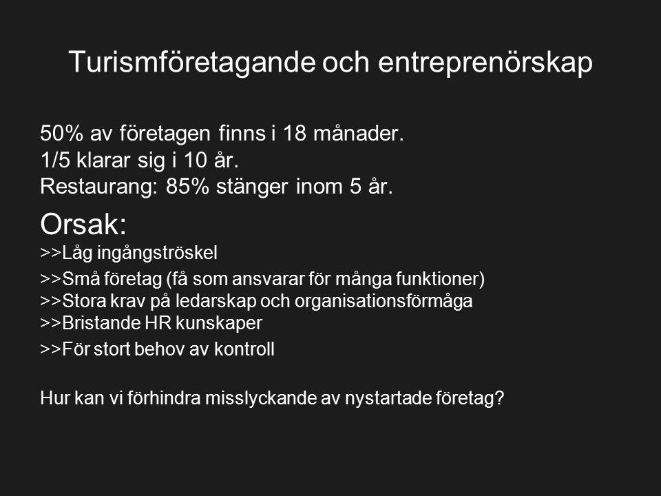 Turismföretagande och entreprenörskap 50% av företagen finns i 18 månader. 1/5 klarar sig i 10 år. Restaurang: 85% stänger inom 5 år. Orsak: >>Låg ing