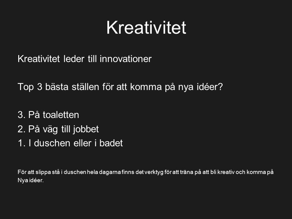 Kreativitet Kreativitet leder till innovationer Top 3 bästa ställen för att komma på nya idéer? 3. På toaletten 2. På väg till jobbet 1.I duschen elle