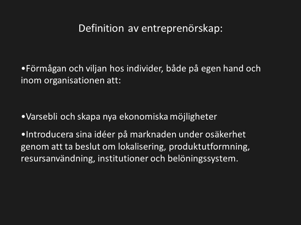 Definition av entreprenörskap: Förmågan och viljan hos individer, både på egen hand och inom organisationen att: Varsebli och skapa nya ekonomiska möj