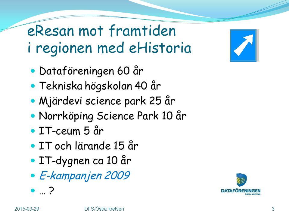 eResan mot framtiden i regionen med eHistoria Dataföreningen 60 år Tekniska högskolan 40 år Mjärdevi science park 25 år Norrköping Science Park 10 år IT-ceum 5 år IT och lärande 15 år IT-dygnen ca 10 år E-kampanjen 2009 … .
