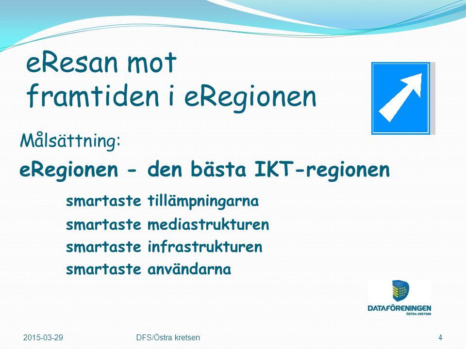 Målsättning: eRegionen - den bästa IKT-regionen smartaste tillämpningarna smartaste mediastrukturen smartaste infrastrukturen smartaste användarna 2015-03-29DFS/Östra kretsen4 eResan mot framtiden i eRegionen