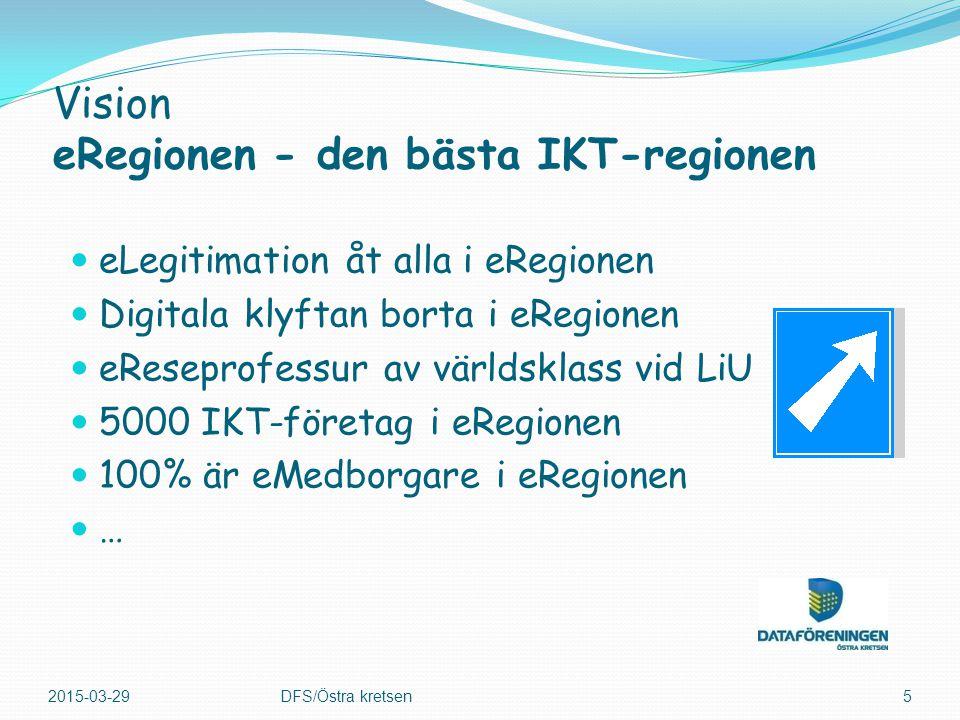eLegitimation åt alla i eRegionen Digitala klyftan borta i eRegionen eReseprofessur av världsklass vid LiU 5000 IKT-företag i eRegionen 100% är eMedborgare i eRegionen … 2015-03-29DFS/Östra kretsen5 Vision eRegionen - den bästa IKT-regionen