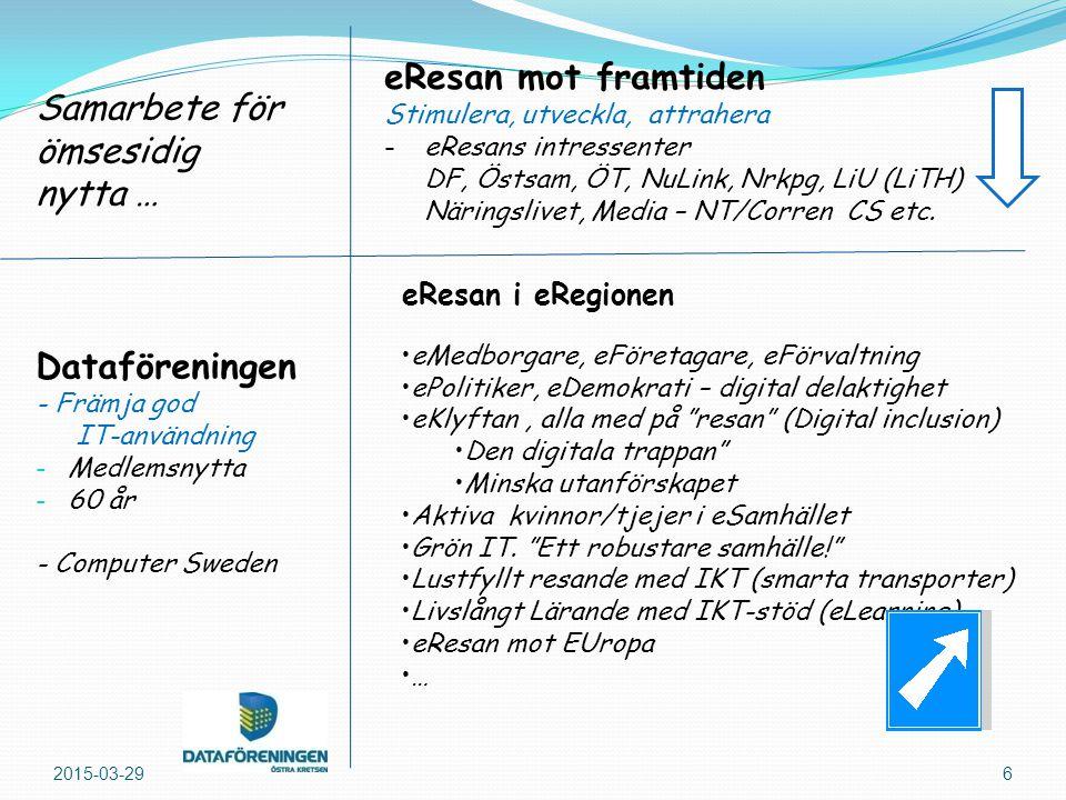 2015-03-296 Dataföreningen - Främja god IT-användning - Medlemsnytta - 60 år - Computer Sweden eResan i eRegionen Samarbete för ömsesidig nytta … eResan mot framtiden Stimulera, utveckla, attrahera -eResans intressenter DF, Östsam, ÖT, NuLink, Nrkpg, LiU (LiTH) Näringslivet, Media – NT/Corren CS etc.