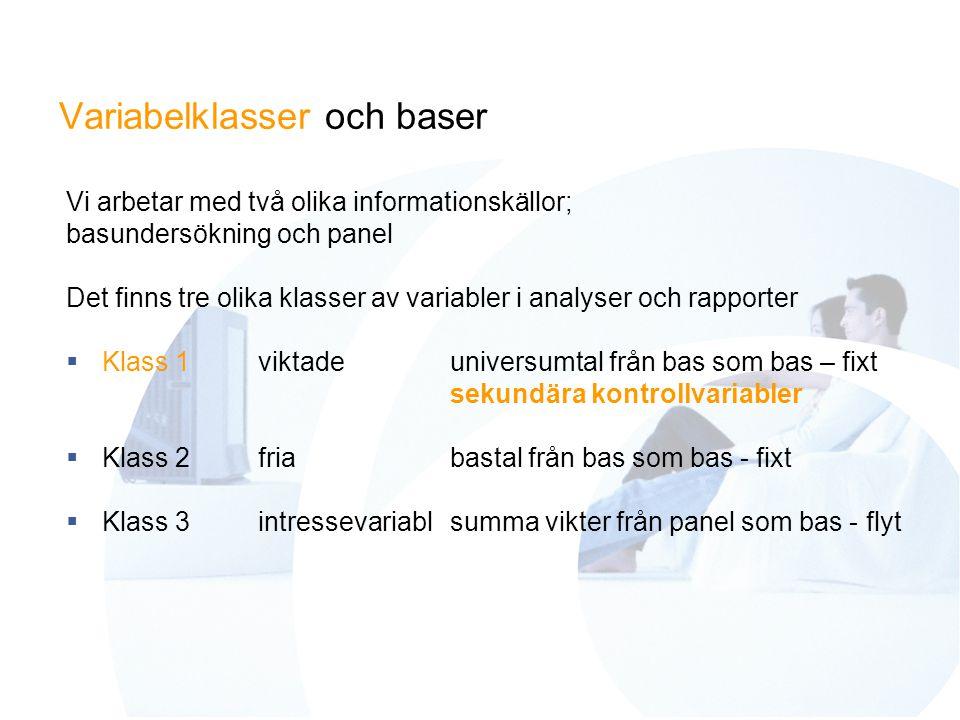 Variabelklasser och baser Vi arbetar med två olika informationskällor; basundersökning och panel Det finns tre olika klasser av variabler i analyser och rapporter  Klass 1viktadeuniversumtal från bas som bas – fixt sekundära kontrollvariabler  Klass 2friabastal från bas som bas - fixt  Klass 3intressevariabl summa vikter från panel som bas - flyt