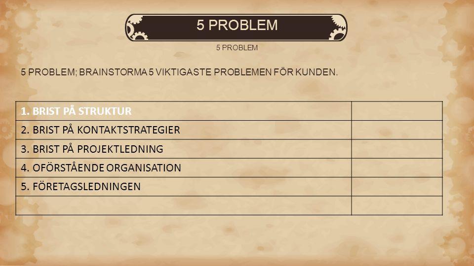 5 PROBLEM 5 PROBLEM; BRAINSTORMA 5 VIKTIGASTE PROBLEMEN FÖR KUNDEN. 1. BRIST PÅ STRUKTUR 2. BRIST PÅ KONTAKTSTRATEGIER 3. BRIST PÅ PROJEKTLEDNING 4. O