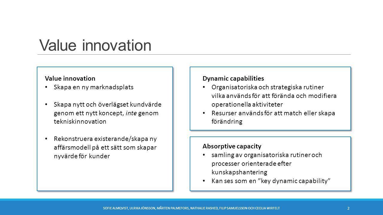 Value innovation SOFIE ALMQVIST, ULRIKA JÖNSSON, MÅRTEN PALMEFORS, NATHALIE RASHED, FILIP SAMUELSSON OCH CECILIA WIRFELT 2 Value innovation Skapa en ny marknadsplats Skapa nytt och överlägset kundvärde genom ett nytt koncept, inte genom tekniskinnovation Rekonstruera existerande/skapa ny affärsmodell på ett sätt som skapar nyvärde för kunder Dynamic capabilities Organisatoriska och strategiska rutiner vilka används för att förända och modifiera operationella aktiviteter Resurser används för att match eller skapa förändring Absorptive capacity samling av organisatoriska rutiner och processer orienterade efter kunskapshantering Kan ses som en key dynamic capability