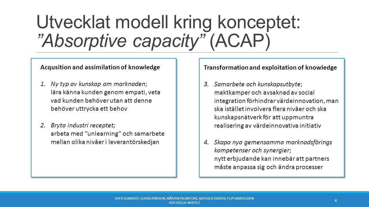 Utvecklat modell kring konceptet: Absorptive capacity (ACAP) SOFIE ALMQVIST, ULRIKA JÖNSSON, MÅRTEN PALMEFORS, NATHALIE RASHED, FILIP SAMUELSSON OCH CECILIA WIRFELT 4 Acqusition and assimilation of knowledge 1.Ny typ av kunskap om marknaden; lära känna kunden genom empati, veta vad kunden behöver utan att denne behöver uttrycka ett behov 2.Bryta industri receptet; arbeta med unlearning och samarbete mellan olika nivåer i leverantörskedjan Transformation and exploitation of knowledge 3.Samarbete och kunskapsutbyte; maktkamper och avsaknad av social integration förhindrar värdeinnovation, man ska istället involvera flera nivåer och ska kunskapsnätverk för att uppmuntra realisering av värdeinnovativa initiativ 4.Skapa nya gemensamma marknadsförings kompetenser och synergier; nytt erbjudande kan innebär att partners måste anpassa sig och ändra processer