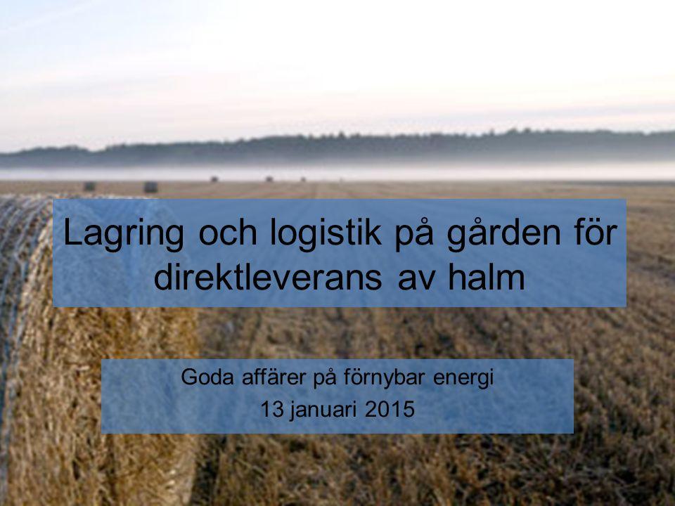 Lagring och logistik på gården för direktleverans av halm Goda affärer på förnybar energi 13 januari 2015