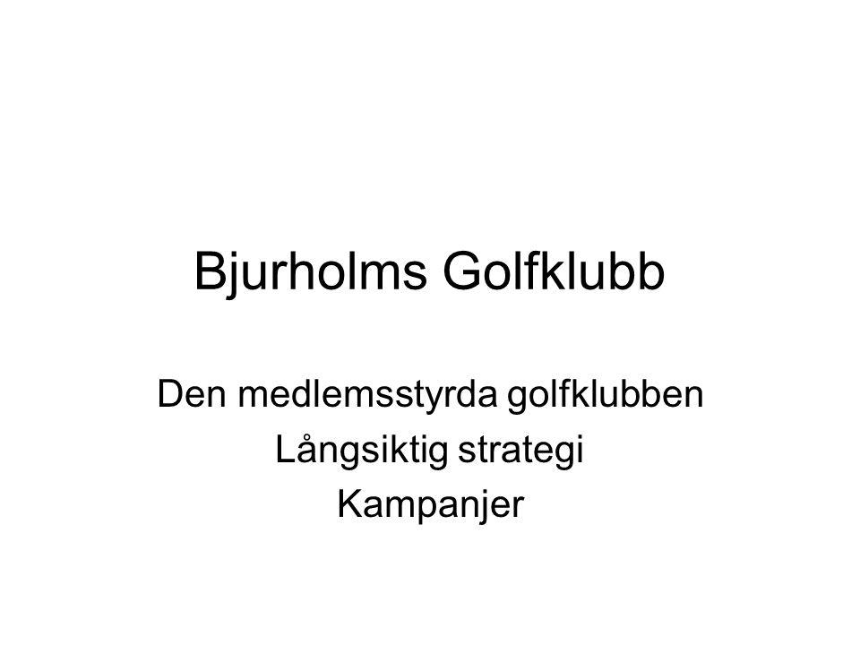 Bjurholms Golfklubb Den medlemsstyrda golfklubben Långsiktig strategi Kampanjer