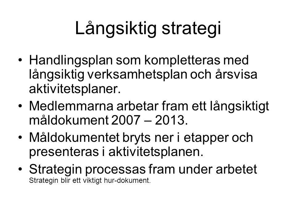 Långsiktig strategi Handlingsplan som kompletteras med långsiktig verksamhetsplan och årsvisa aktivitetsplaner.