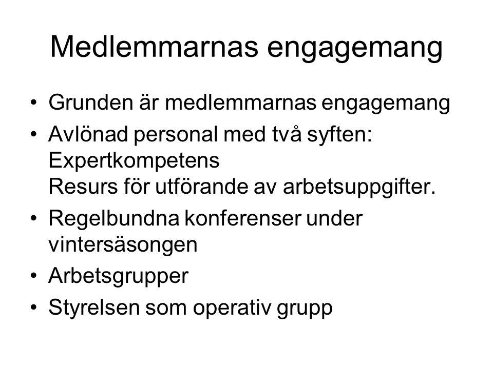 Medlemmarnas engagemang Grunden är medlemmarnas engagemang Avlönad personal med två syften: Expertkompetens Resurs för utförande av arbetsuppgifter.
