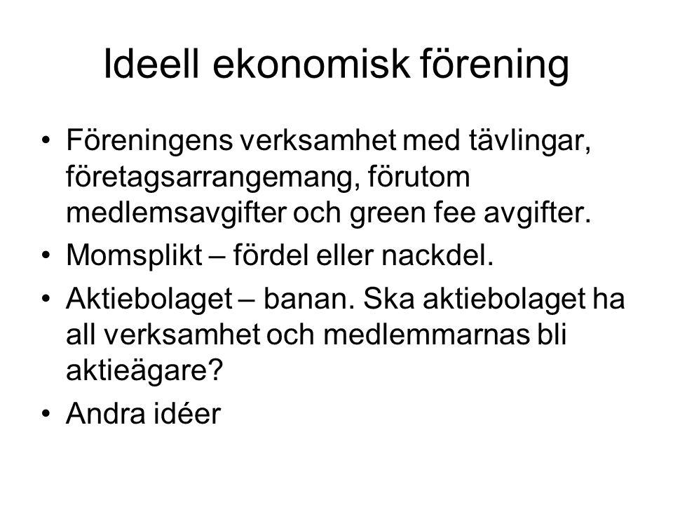 Ideell ekonomisk förening Föreningens verksamhet med tävlingar, företagsarrangemang, förutom medlemsavgifter och green fee avgifter.